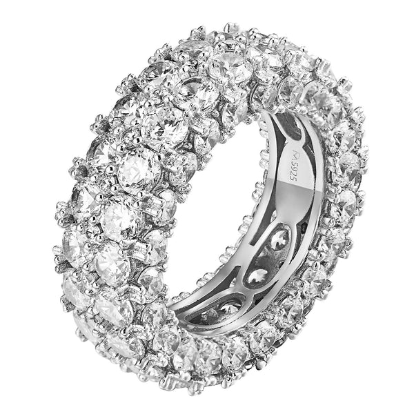 Eternity Wedding Ring Womens Stackable Solitaire Band White Gold Finish Bridal