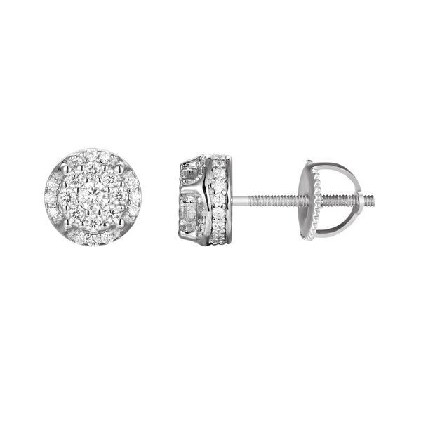 Solitaire Prong Custer Sterling Silver Stud Earrings