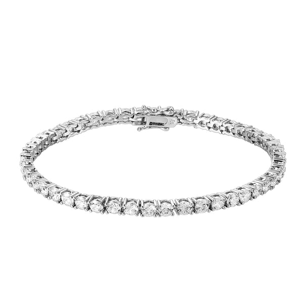 14k White Gold Finish 3mm Solitaire Men's Tennis Link Bracelet