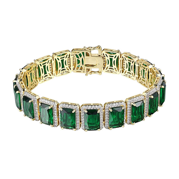 Green Ruby CZ Bracelet Solitaire 14k Gold Plated Hip Hop Rapper  Unique