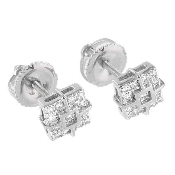 Square Design Earrings Iced Out Simulated Diamonds 14K White Gold Finish Screw Back Studs