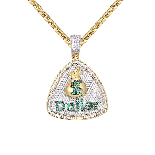 Men's Iced Out Dollar Bag Sign Triangle Dog tag Pendant Chain