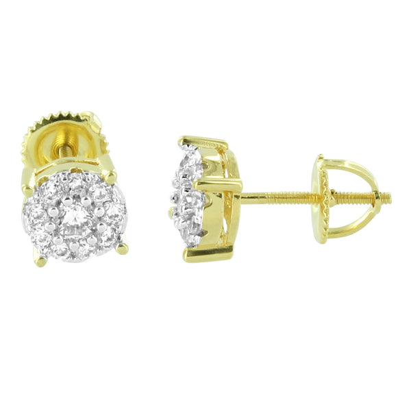 Cluster Set Solitaire Earrings Round Shape 14K Gold Finish Lab Diamonds Screw On Studs