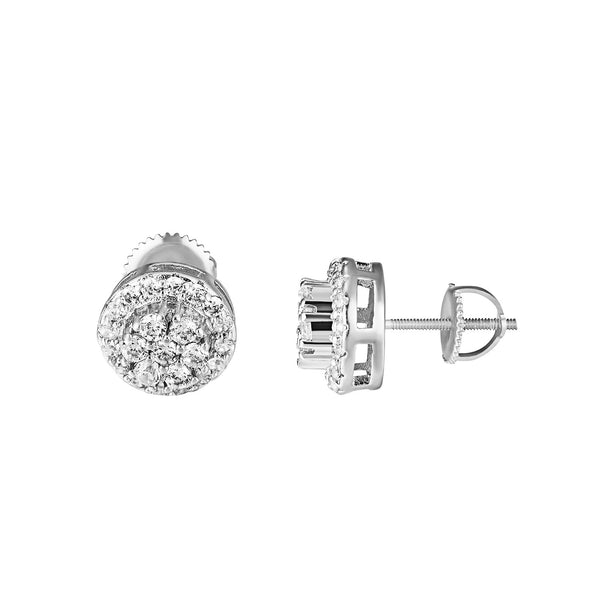 Solitaire Cluster Set Earrings Round Shape Halo Silver Tone Simulated Diamonds