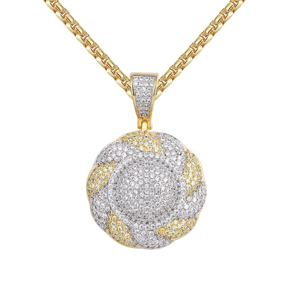 14k Gold Finish Two Tone Solitaire Flower Circle Pendant Chain