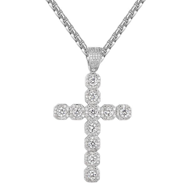 Iced Out Solitaire designer Cross Pendant Chain