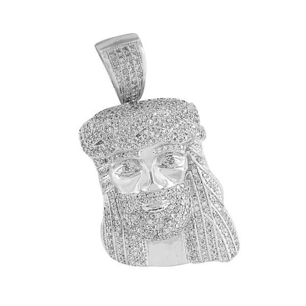 Jesus Face Pendant White Rhodium Finish Charm Lab Diamonds