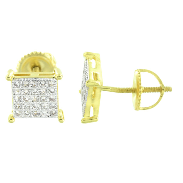 Gold Finish Square Earrings Screw Back Micro Pave