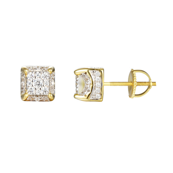 14k Gold Finish Solitaire Square Cube Screw Back Earrings