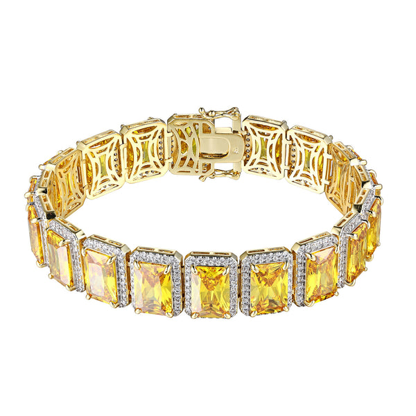 Canary Ruby CZ Bracelet 14k Gold Finish Hip Hop Iced Out Rick Ross Rapper 8.5