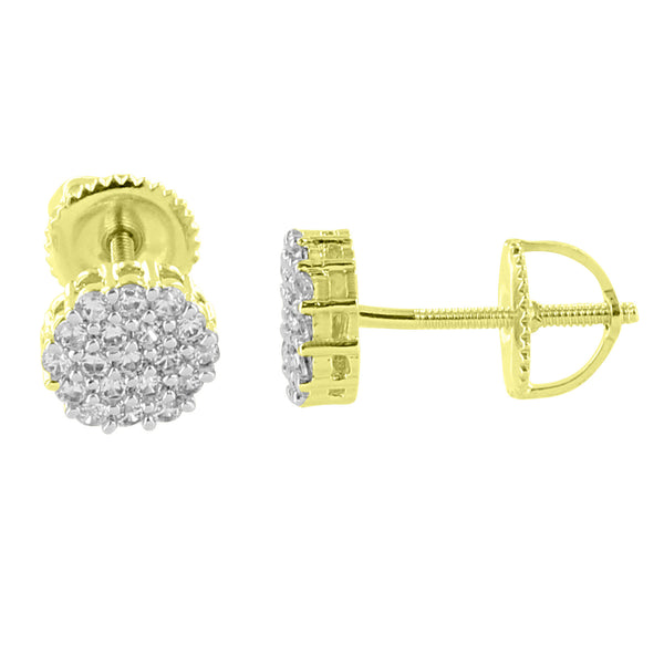 Cluster Set Flower Earrings 14K Yellow Gold Finish Studs Simulated Diamonds Screw Back