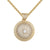 Iced Out Mini Solitaire 3D Circle Medallion Pendant 24' Necklace