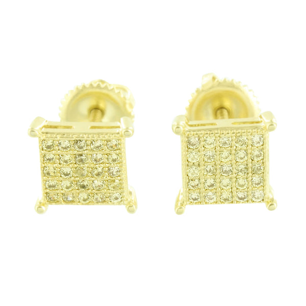 Canary Earrings Screw Back Micro Pave 7 MM Mens Womens