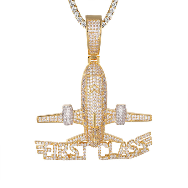 Gold Tone First Class Airplane Rich CEO .925 Bling Pendant