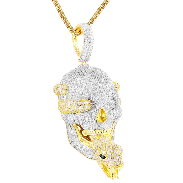 Men's Skull Snake Face Canary Custom Pendant Free Chain