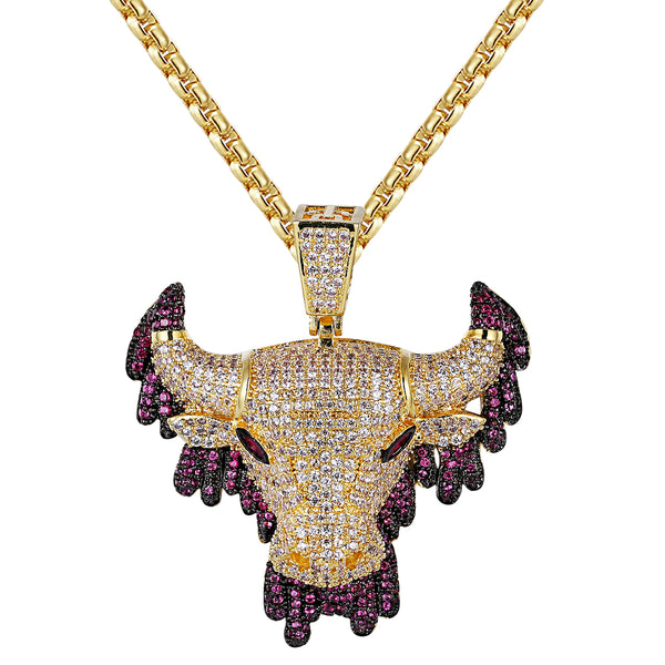 Iced Out Purple Dripping Bull Pendant
