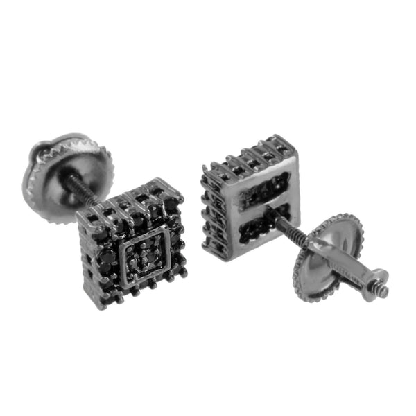 Black Finish Square Earrings Prong Set Screw Back