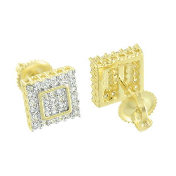 Square Shape Earrings Yellow Gold Finish Simulated Diamonds