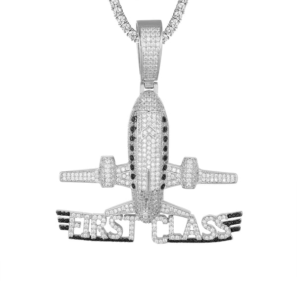 Sterling Silver First Class Airplane Rich Bling Custom Pendant