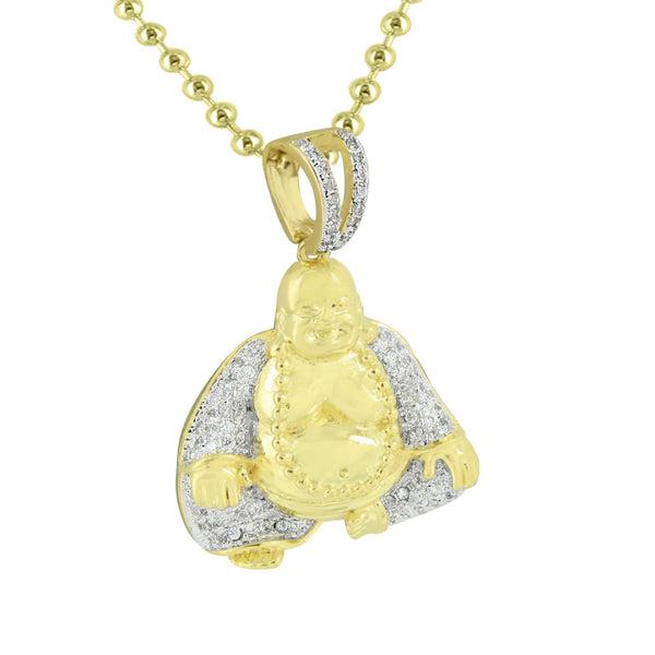 Buddha Buddhist Religion Pendant 14K Gold Finish