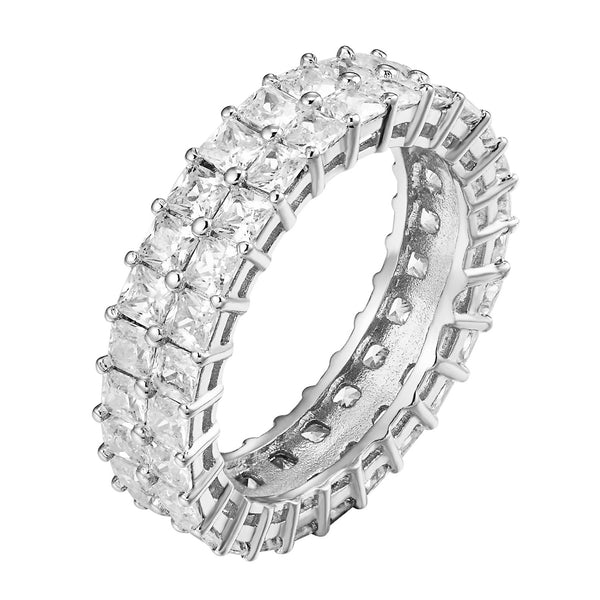 Princess Cut Eternity Ring 2 Row Sterling Silver Simulated Diamond Wedding Women