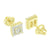 Screw Back Square Earrings Yellow Gold Finish Prong Set