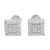 White Simulated Diamonds Earrings Square Stylish Screw Back Mens