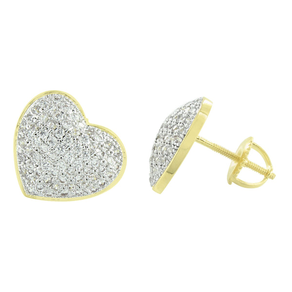 Heart Earrings Yellow Gold Finish With Lab Diamonds Screw Backs.