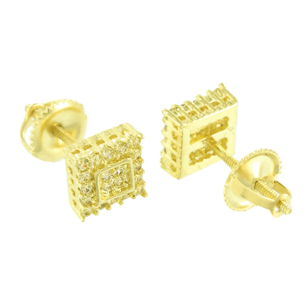 Prong Set Square Earrings Yellow Screw Back Gold Finish 6 MM