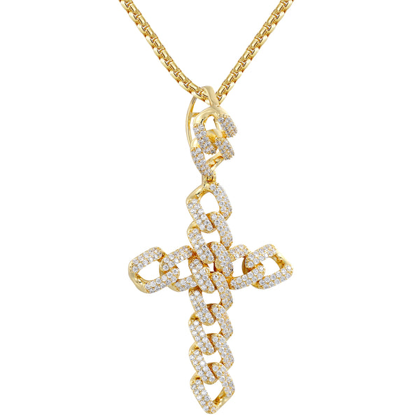 New Men's Iced Out Religious Cuban Cross Custom Pendant