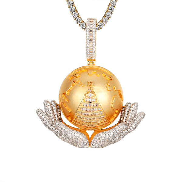 14k Gold Tone Hand holding Globe World Baguette Map Icy Pendant