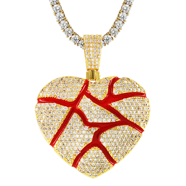 Men's Broken Heart Love Red  14k Gold Finish Pendant Set