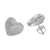 Heart Style Earrings Womens Simulated Diamonds White Rhodium Finish