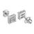 White Mens White Earrings Prong Set Square Shape Screw Back