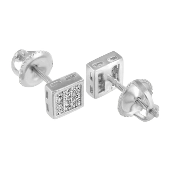 Square Mens White Earrings Womens