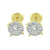 Round Cluster Set Earrings Yellow Gold Finish Screw Back
