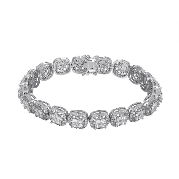 Iced Out Flower Cluster Solitaire Square Links Bracelet