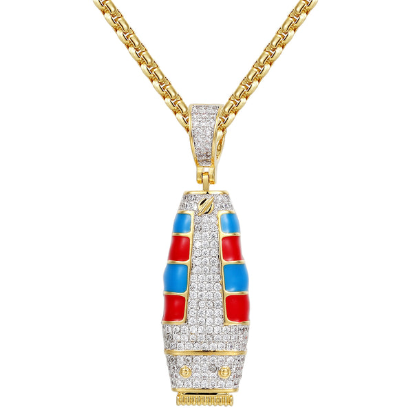 14k Gold Finish Barber Clipper Trimmer Iced Out Pendant
