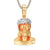 Gold Tone Matte Face Bleeding Holy Jesus Face Pendant Chain
