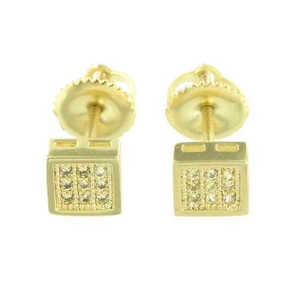Gold Finish Square Earrings Screw Back Designer Classy