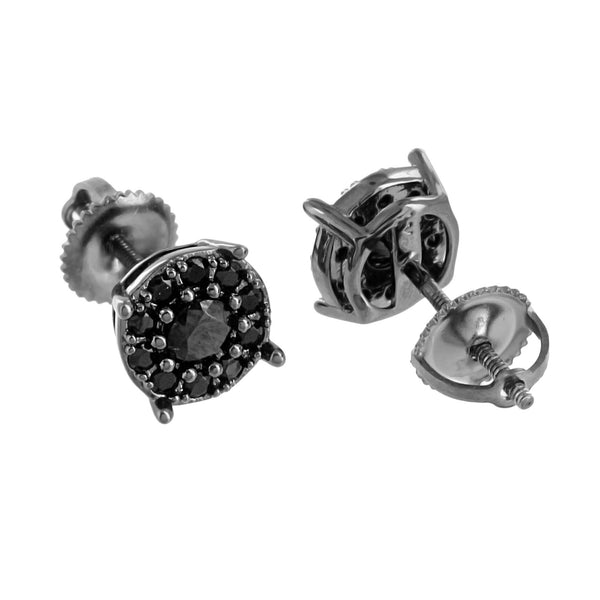 Black Simulated Diamonds Earrings Round Cut Black Finish Screw Back