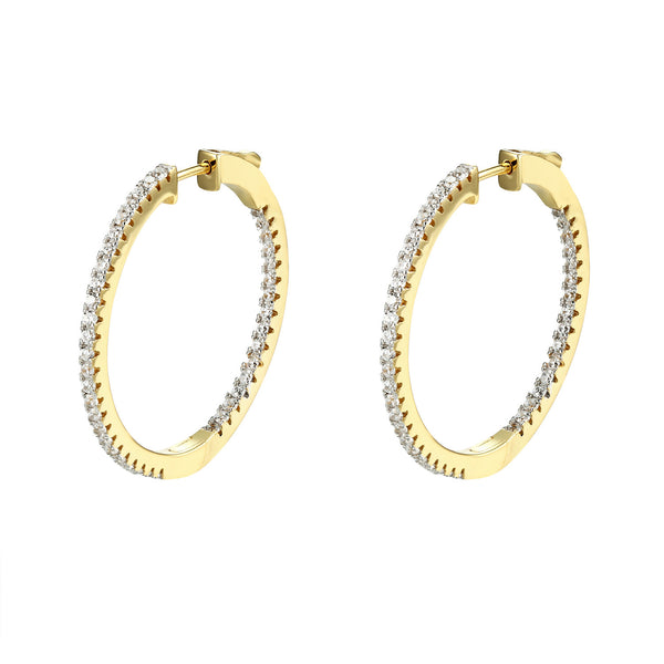 Sterling Silver Fine cut Micro Pave Hoop Earrings Iced Out 14k Yellow Finish