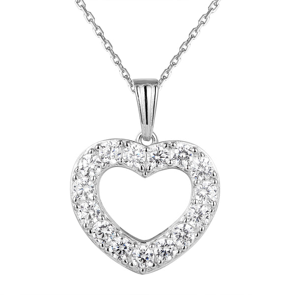 Sterling Silver Solitaire Lab Diamonds Love Heart Pendant Gift Set
