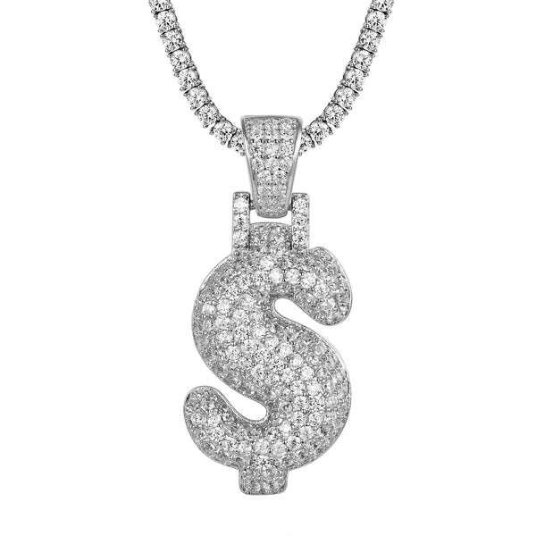 Bubble Dollar Sign Sterling Silver Pendant Necklace