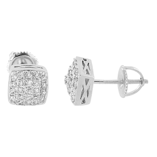 Square Designer Earrings Bling Lab Diamonds 14K White Gold Finish Screw On Studs