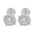 White Cluster Set Earrings Round Stylish Rhodium Finish
