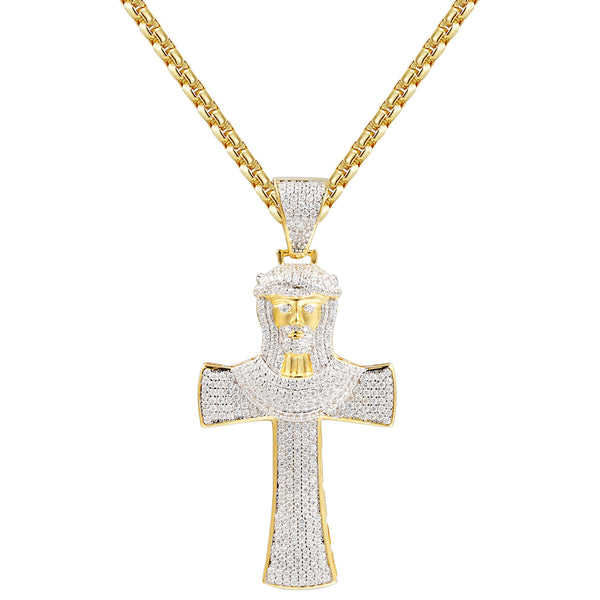 Silver Jesus Face Iced Out Cross Pendant Chain