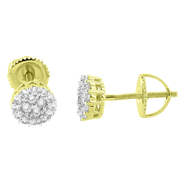 Cluster Set Round Earrings Screw Back Studs 14K Yellow Gold Finish Simulated Diamonds New