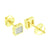 Square Earrings 5 MM Mens Womens Yellow Gold Finish