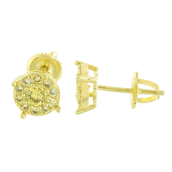 Gold Finish Round Earrings Canary Cluster Set Simulated Diamond